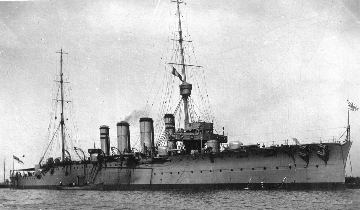 British Light Cruiser HMS Dublin. Dublin fought at the Battle of Jutland 31st May 1916 in Commodore Goodenough's 2nd Light Cruiser Squadron