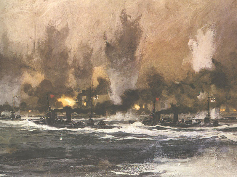 German Destroyers going in to make a torpedo attack on the British Battleship line at the Battle of Jutland 31st May 1916