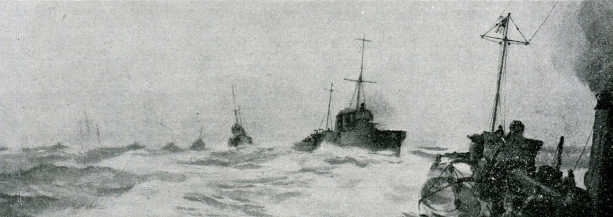 British Destroyers going into action at the Battle of Jutland 31st May 1916