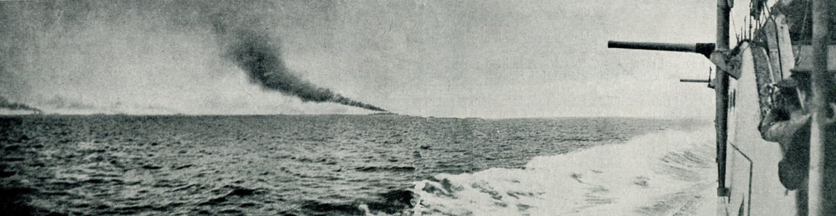 First of a sequence of photographs of the opening stages of the Battle Cruiser action at the Battle of Jutland 31st May 1916 taken by Paymaster Lieutenant Duckworth from HMS Birmingham at 3.28pm. HMS Birmingham is shown on the right, HMS Nottingham in the left centre and the British Battle Cruisers on the left horizon