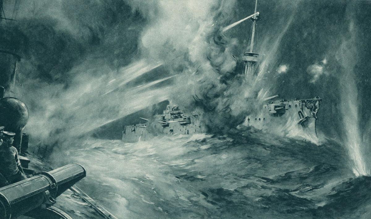 British Destroyer HMS Spitfire in action with German Battleship SMS Nassau Battle of Jutland 31st May 1916