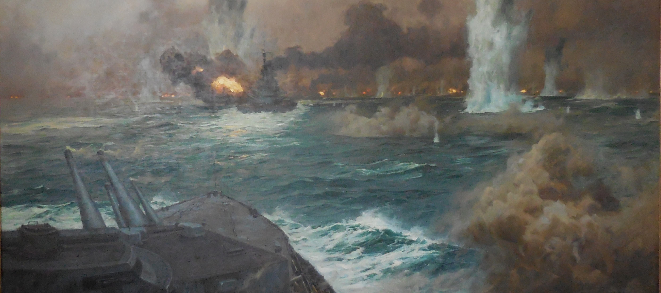 The German High Seas Fleet in action at the Battle of Jutland on 31st May 1916: picture by Claus Bergen