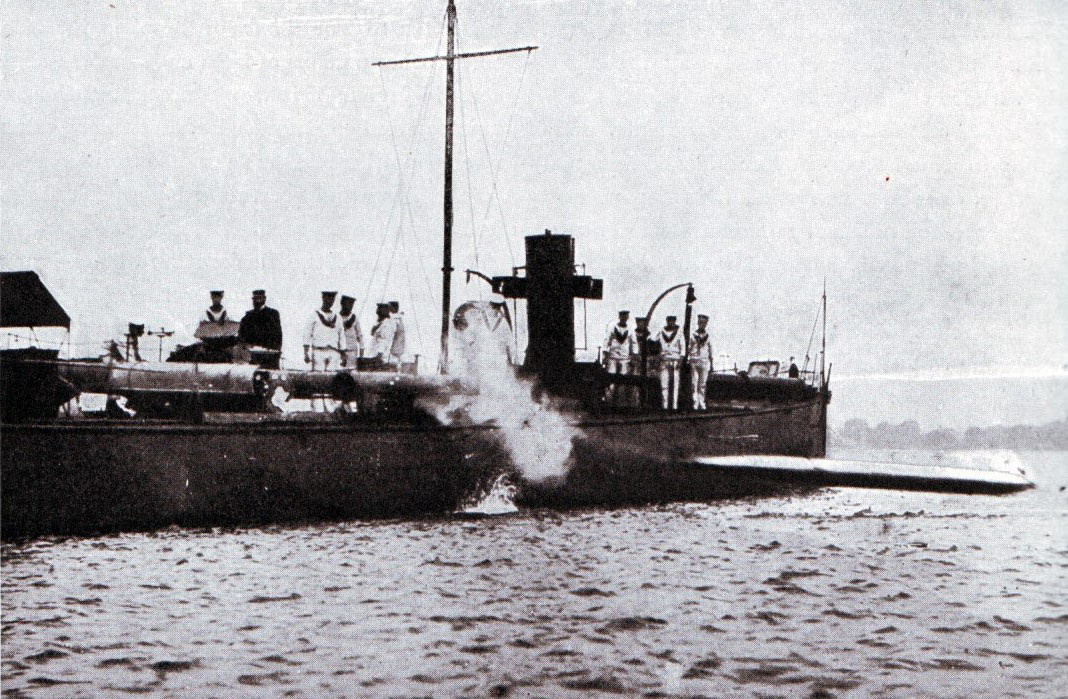 British destroyer firing a torpedo during range firing in 1915