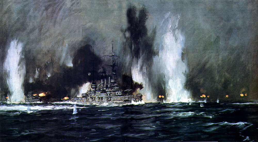 German High Seas Fleet during the night action Battle of Jutland 31st May 1916: picture by Claus Bergen