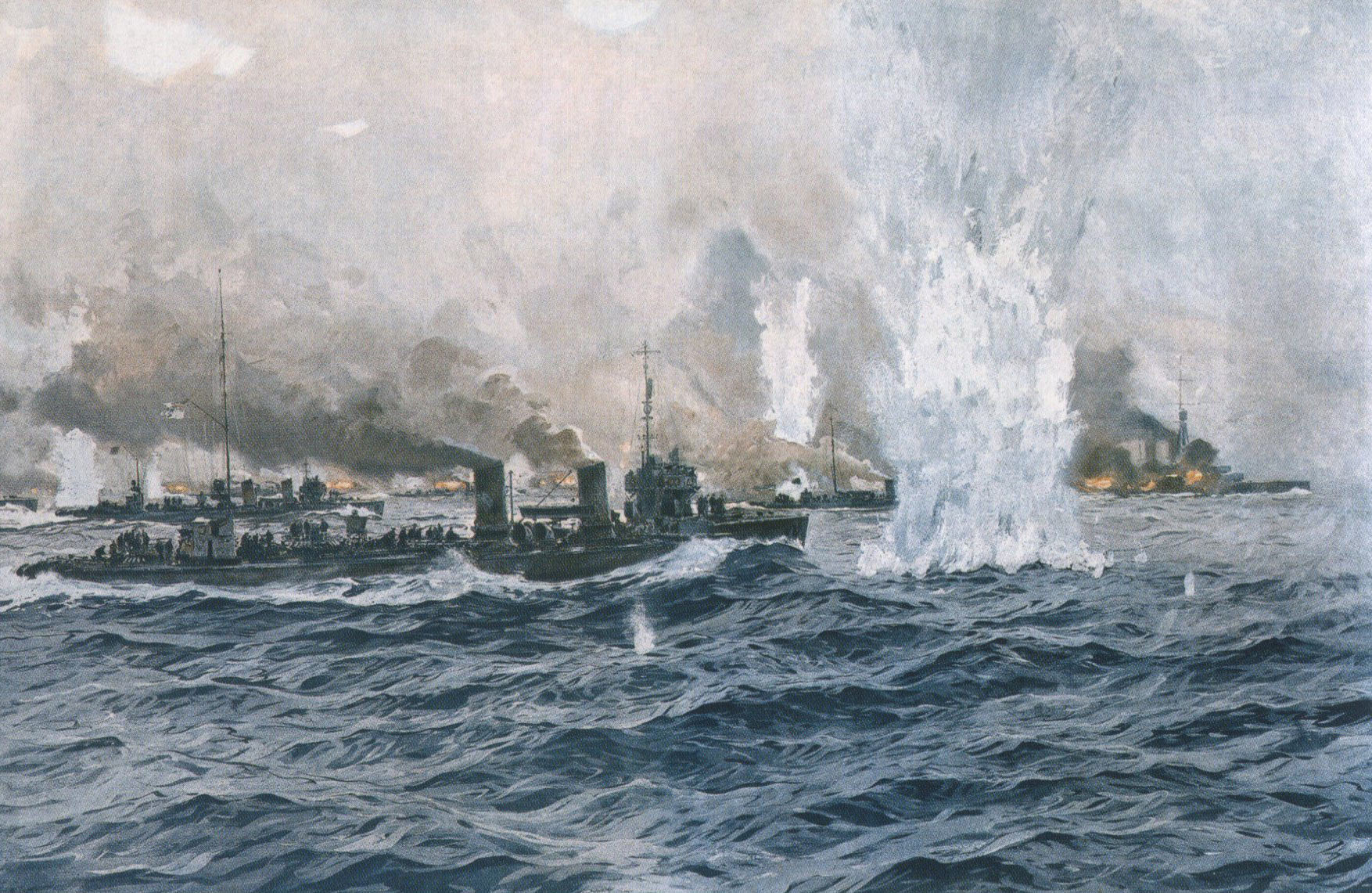 German Destroyers going in to the attack at the Battle of Jutland 31st May 1916: picture by Claus Bergen