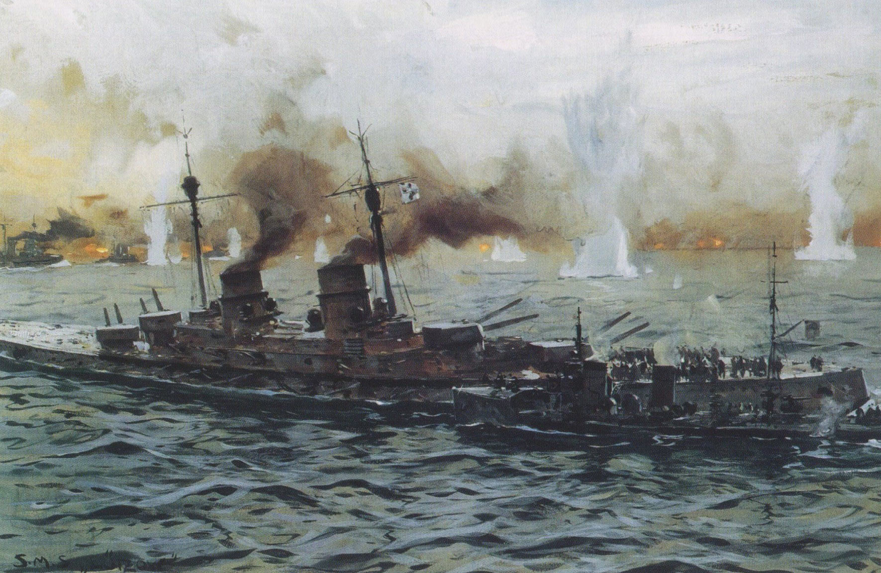 Admiral Hipper leaves his stricken flagship SMS Lützow by destroyer for SMS Moltke. Lützow later sank. Battle of Jutland 31st May 1916: picture by Claus Bergen