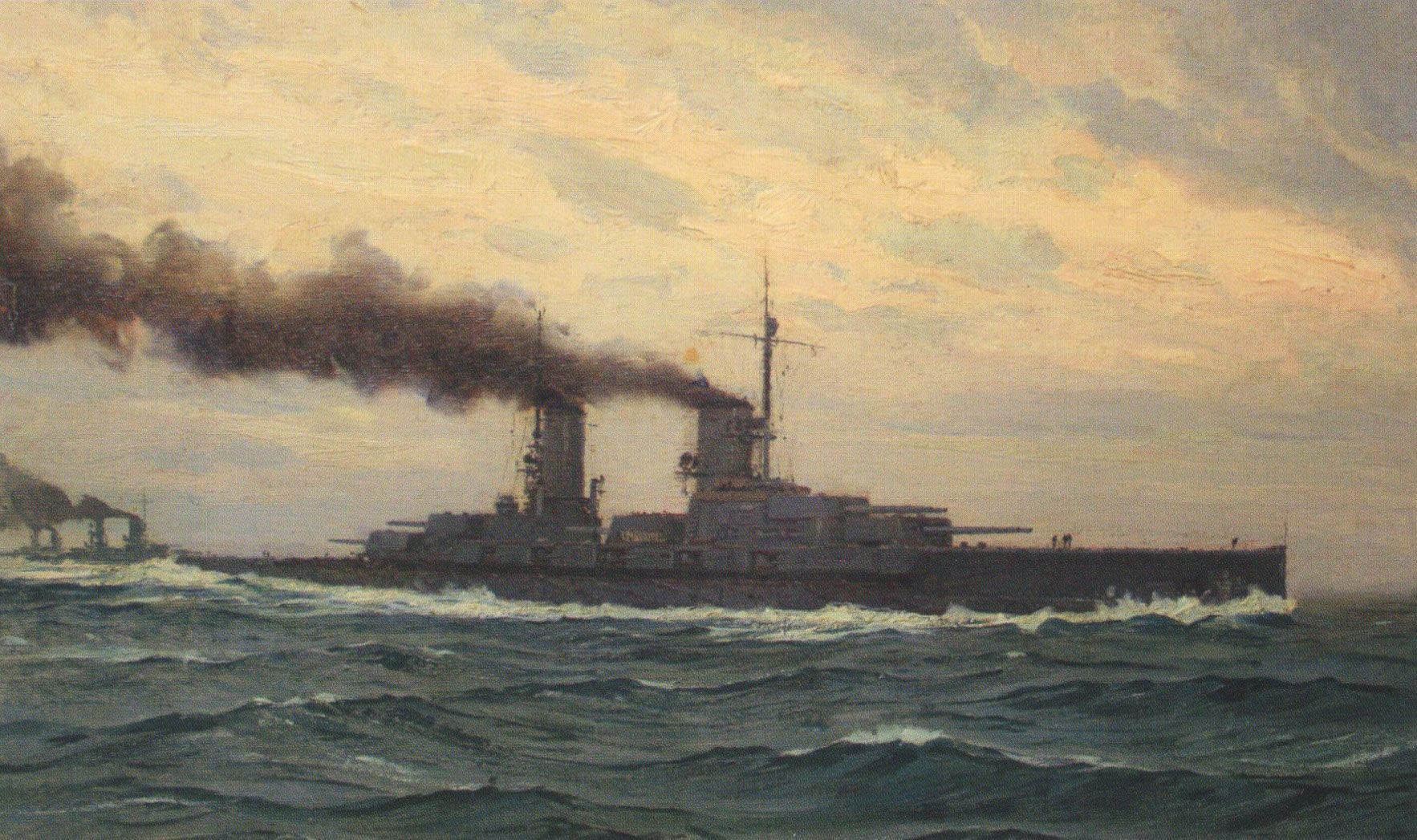 German Battleship SMS Markgraf: Markgraf fought at the Battle of Jutland on 31st May 1916 in the 5th Division of Rear-Admiral Behncke's 3rd Squadron: picture by Claus Bergen