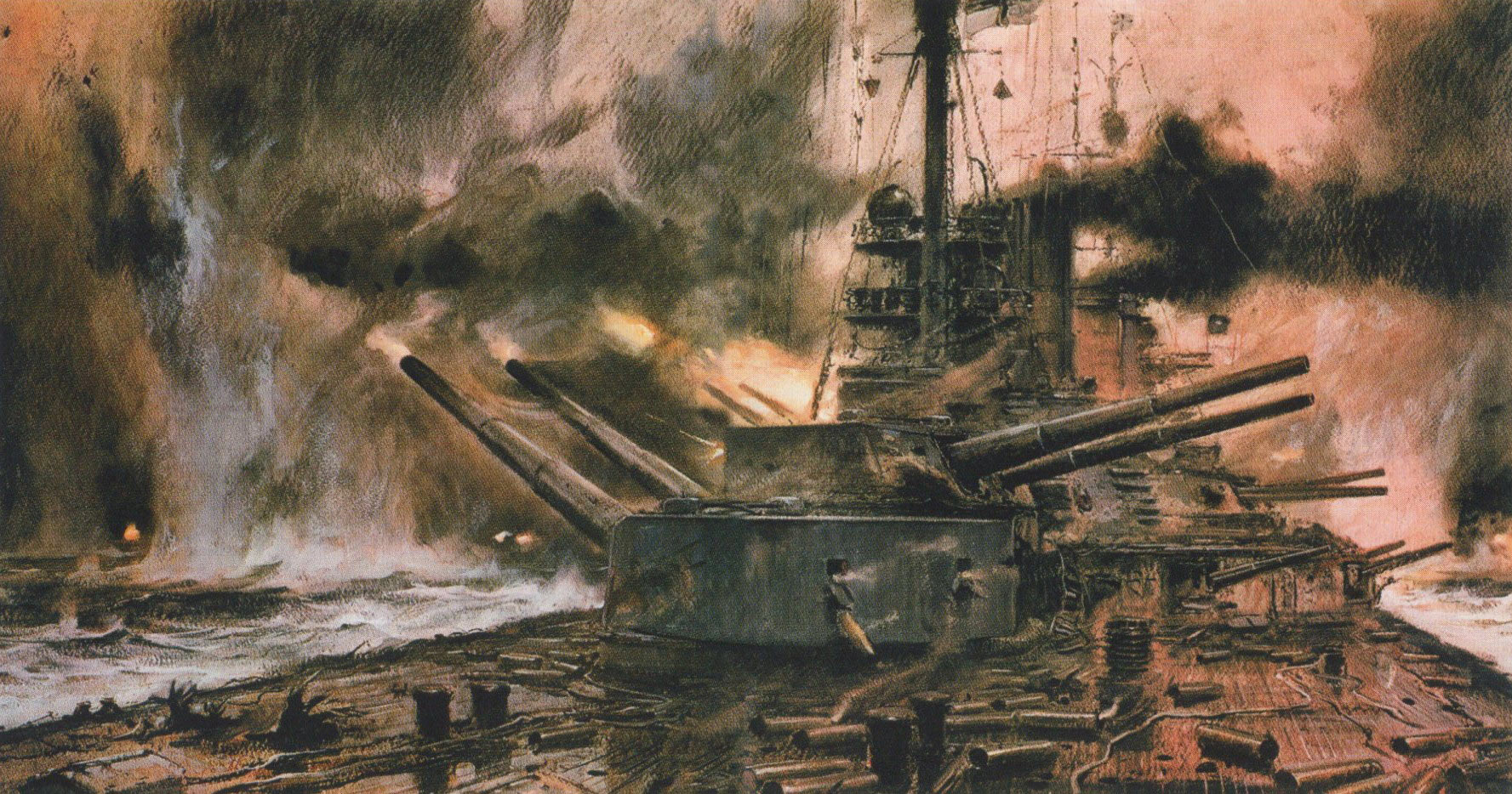 German Battle Cruiser SMS Seydlitz in action at the Battle of Jutland on 31st May 1916: picture by Claus Bergen