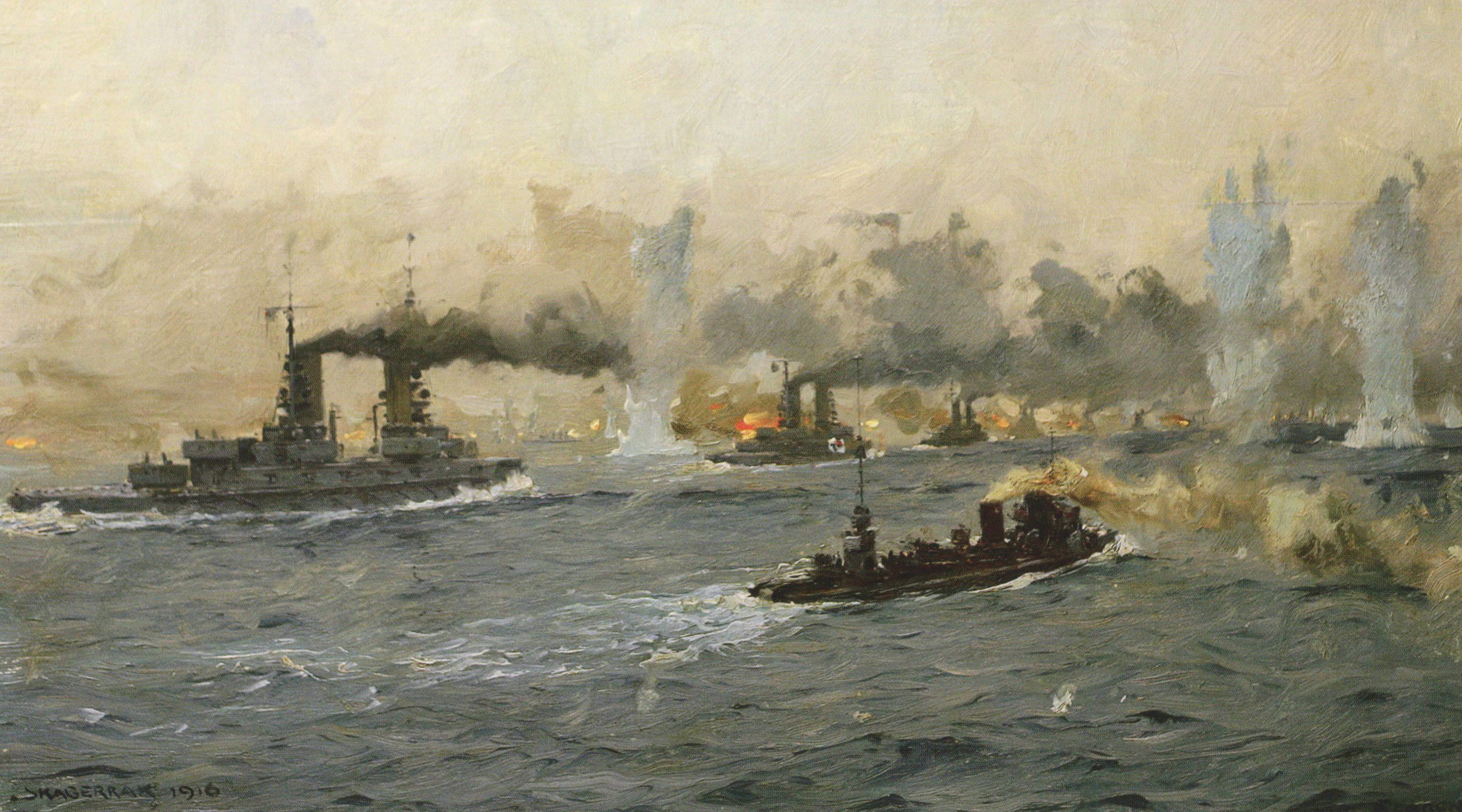German Battleships and Destroyers in action Battle of Jutland 31st May 1916: picture by Claus Bergen