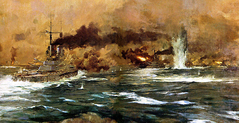 German Battleships steaming into action at the Battle of Jutland 31st May1916: picture by Claus Bergen