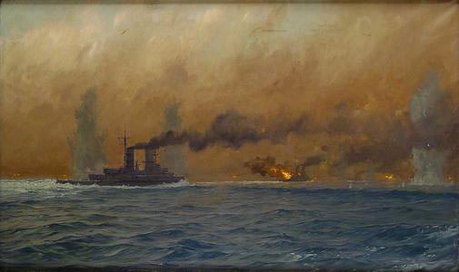 British Cruiser HMS Defence explodes after being struck by several salvos from German Battleships at the Battle of Jutland 31st May 1916: picture by Claus Bergen