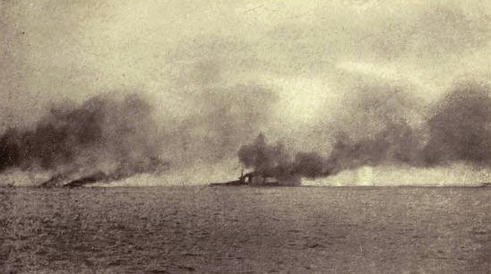 Admiral Beatty's flagship HMS Lion struck on Q Turret during the Battle of Jutland on 31st May 1916: contemporary photograph taken from a British destroyer