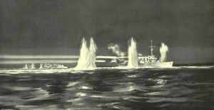 British 2nd Light Cruiser Squadron in action against the German High Seas Fleet during the night action Battle of Jutland 1916