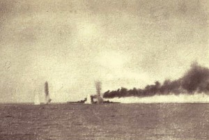 First of a series of photographs taken from a British destroyer at the Battle of Jutland on 31st May 1916 showing salvos of German shells landing short of HMS Lion: contemporary photograph taken from a British destroyer