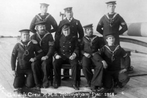 Galley Crew British Light Cruiser HMS Nottingham. Nottingham fought at Battle of Jutland 31st May 1916 in 2nd Light Cruiser Squadron: to buy this picture click here