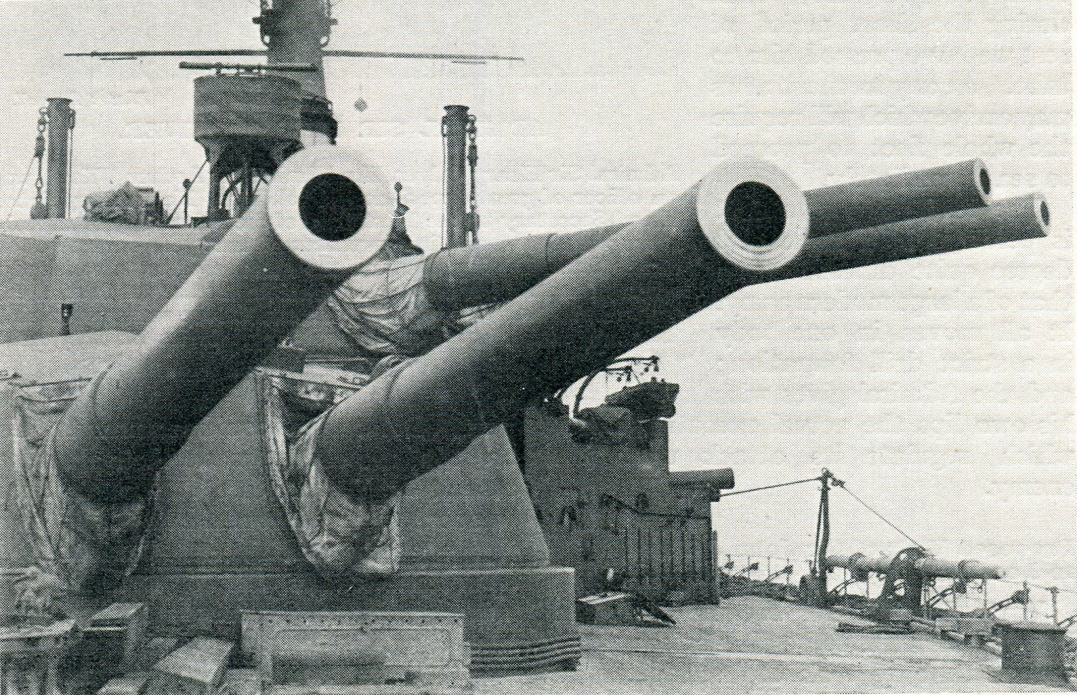 13.5 inch guns of the British Battleship HMS Ajax: Ajax fought at the Battle of Jutland on 31st May 1916 in the 2nd Battle Squadron commanded by Vice Admiral Sir Thomas Jerram