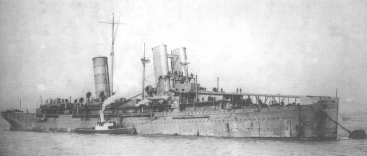 HMS Campania Admiral Jellicoe's Seaplane Carrier left behind when the Grand Fleet sailed for the Battle of Jutland 31st May 1916