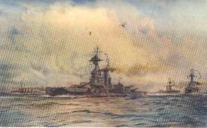 British Battleship HMS Benbow. Benbow fought at the Battle of Jutland 31st May 1916: picture by Lionel Wyllie. Click here to buy this picture.
