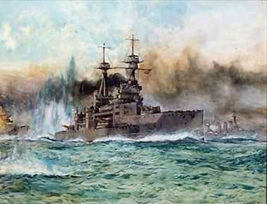 British Battleship HMS Vanguard. Vanguard fought at the Battle of Jutland 31st May 1916 in the 5th Battle Squadron: to buy this picture click here