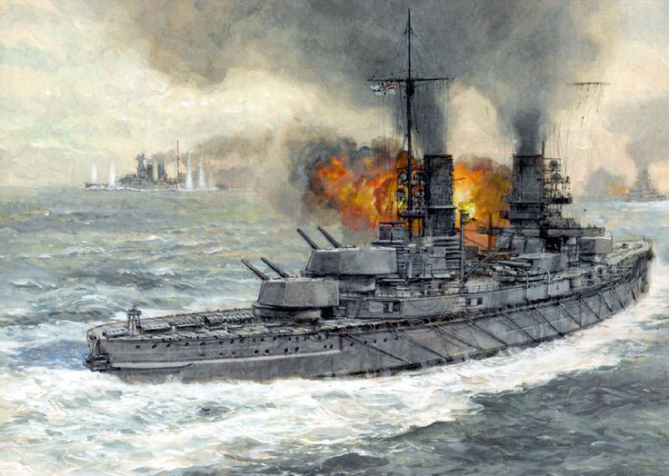 German Battleship SMS Kaiser fires on HMS Warspite before 5th Battle Squadron turns to the north during the opening phase of the Battle of Jutland on 31st May 1916