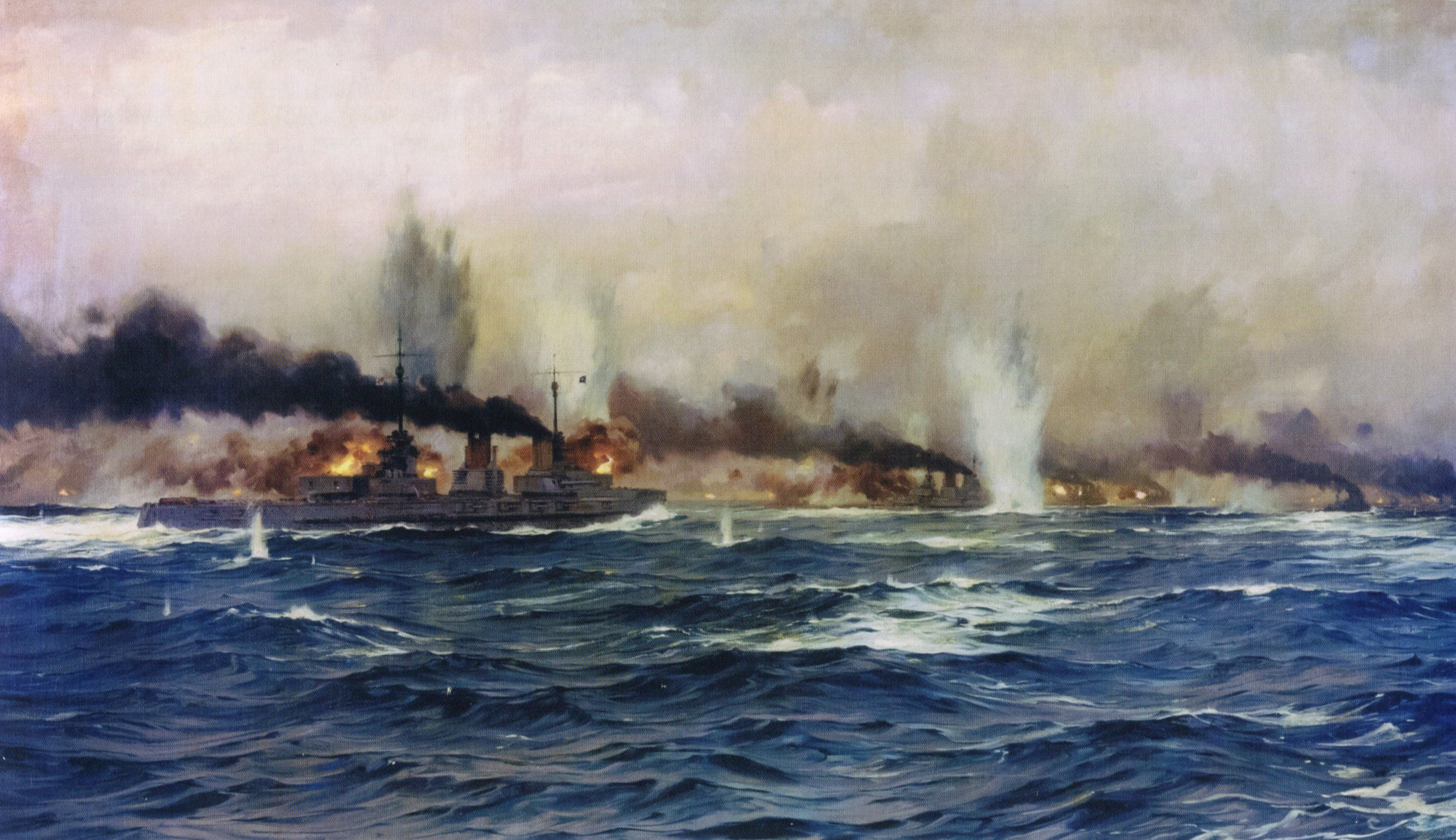 Admiral Hipper's replacement Flagship at the Battle of Jutland 31st May 1916, SMS Moltke: picture by Claus Bergen