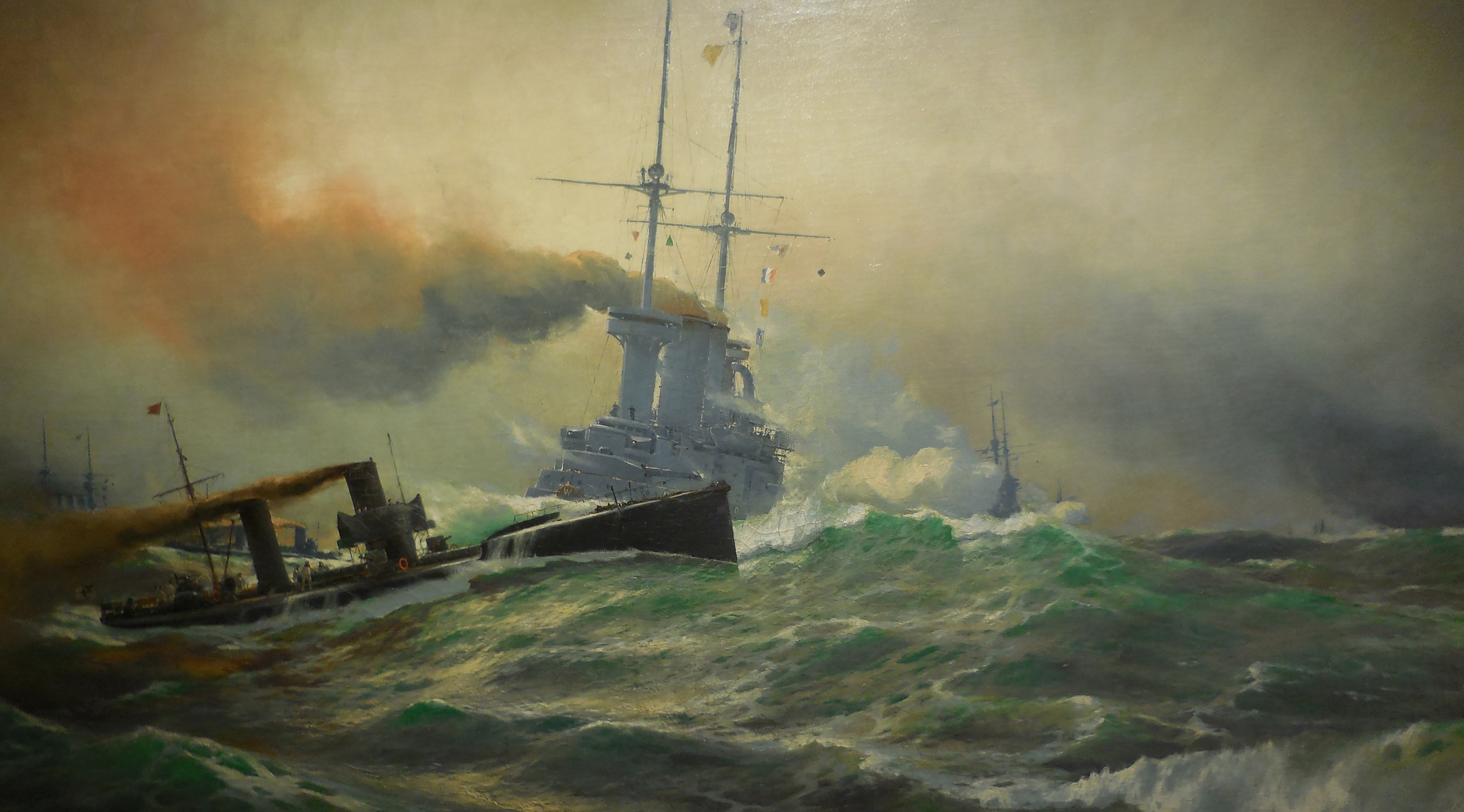'Stander Z' the signal to the German destroyer flotillas to attack at the Battle of Jutland on 31st May 1916: picture by Willy Stoewer