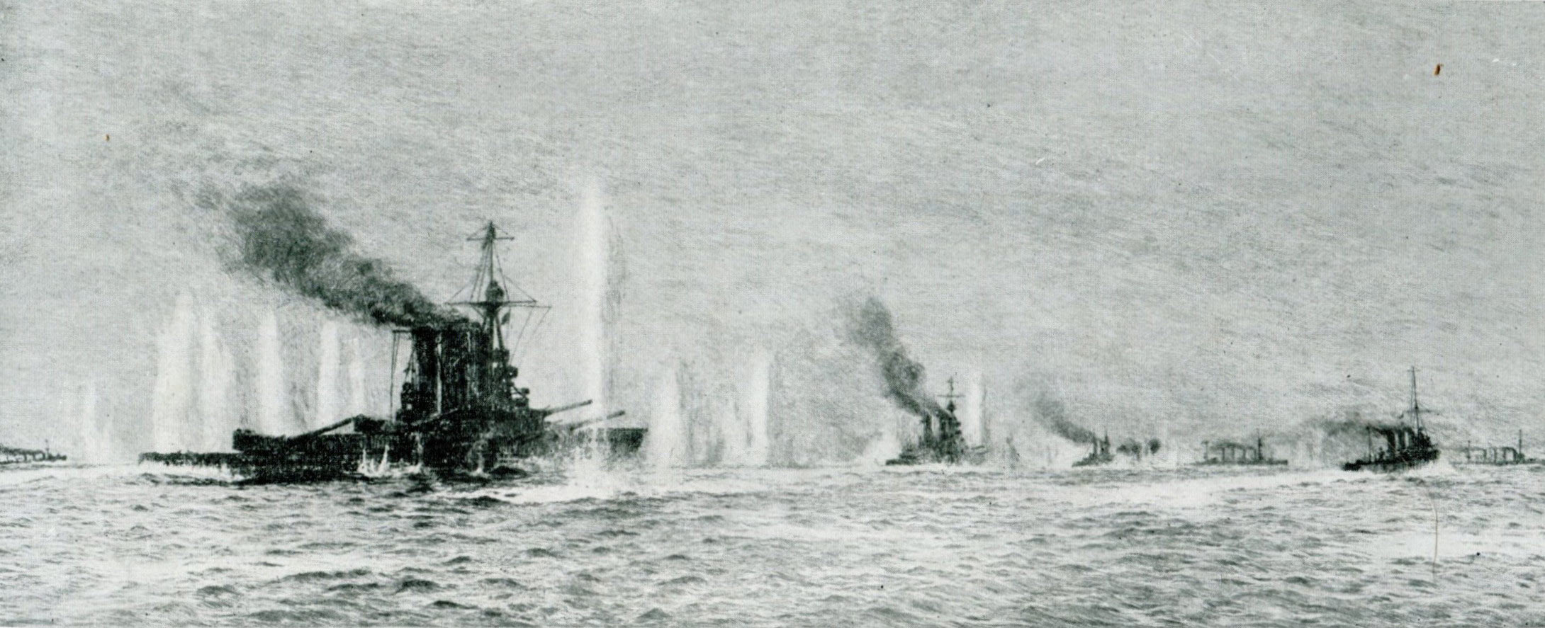 British warships HMS Tiger Princess Royal Lion Warrior and Defence in action at the Battle of Jutland 31st May 1916 shortly before Defence was sunk: picture by Lionel Wyllie