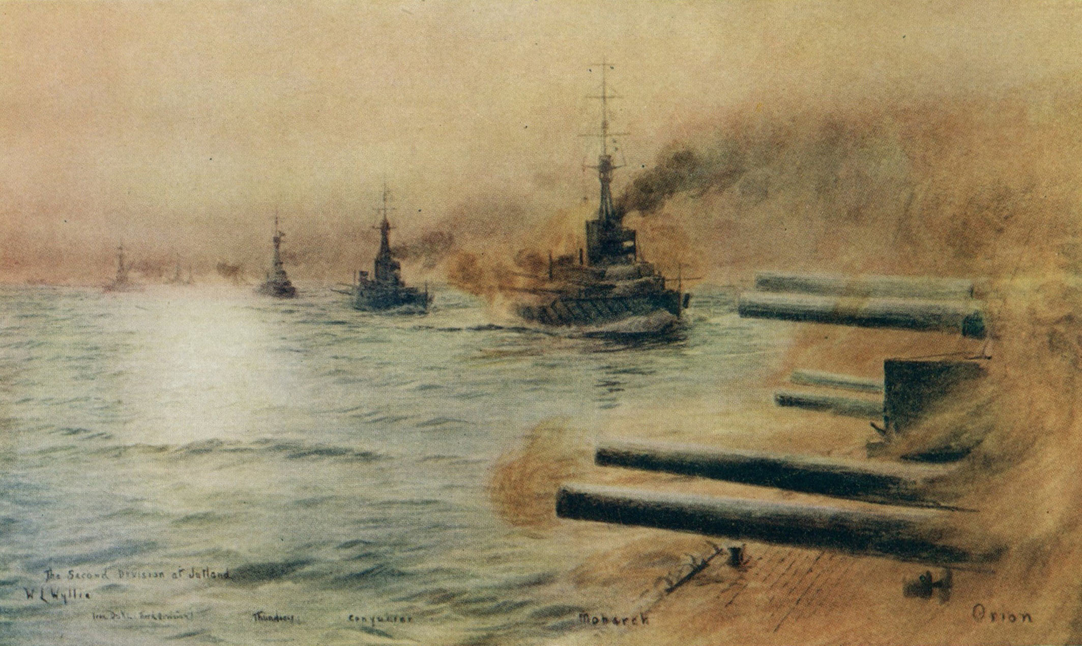 British 2nd Division of Battleships at the Battle of Jutland 31st May 1916: from the right HMS Orion Monarch Conqueror and Thunderer: picture by Lionel Wyllie: to buy this picture click here