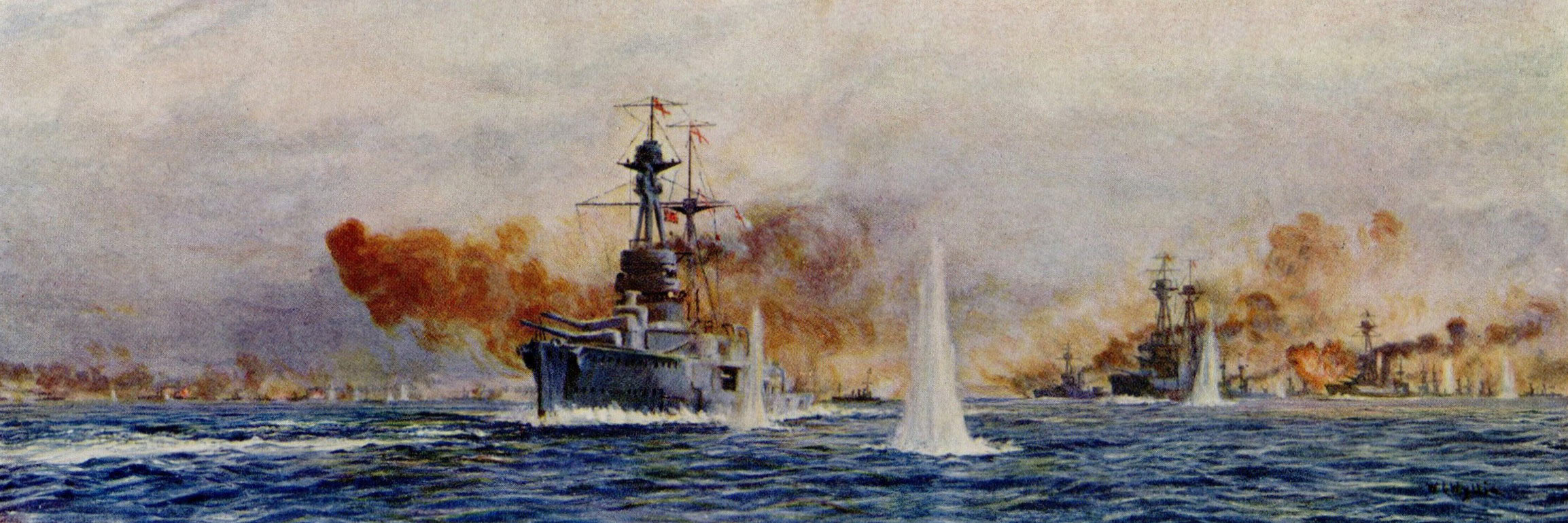 British Battleships at the Battle of Jutland 31st May 1916: HMS Royal Oak Benbow Superb and Canada: picture by Lionel Wyllie: to buy this picture click here
