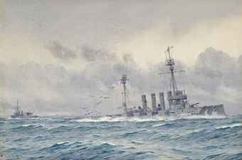 British Cruiser HMS Defence sinks at the Battle of Jutland 31st May 1916: picture by Alma Burlton