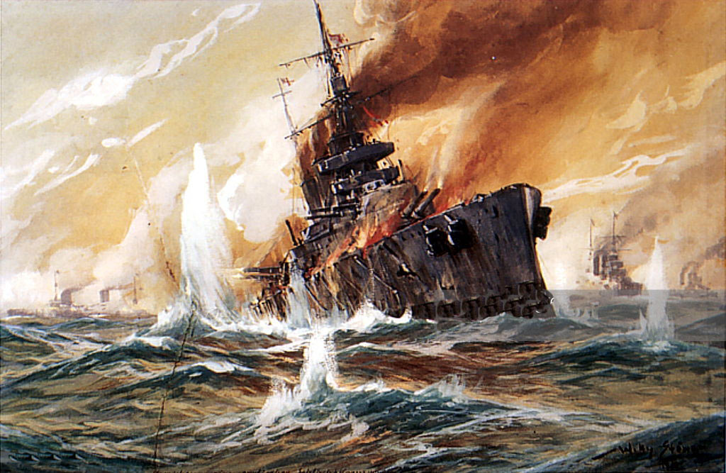 Loss of HMS Indefatigable at the Battle of Jutland on 31st May 1916: picture by Willy Stoewer