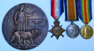 1914 Trio of medals and plaque for Private Butlin RMLI killed on HMS Black Prince at the Battle of Jutland 31st May 1916