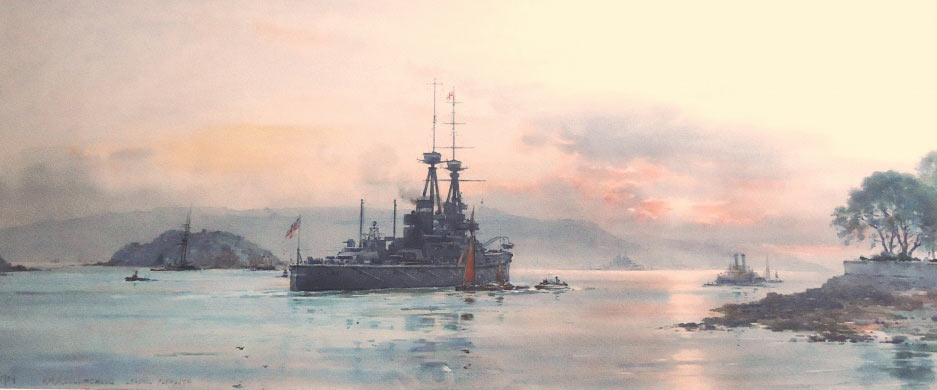 British Battleship HMS Collingwood leaving Plymouth before the War