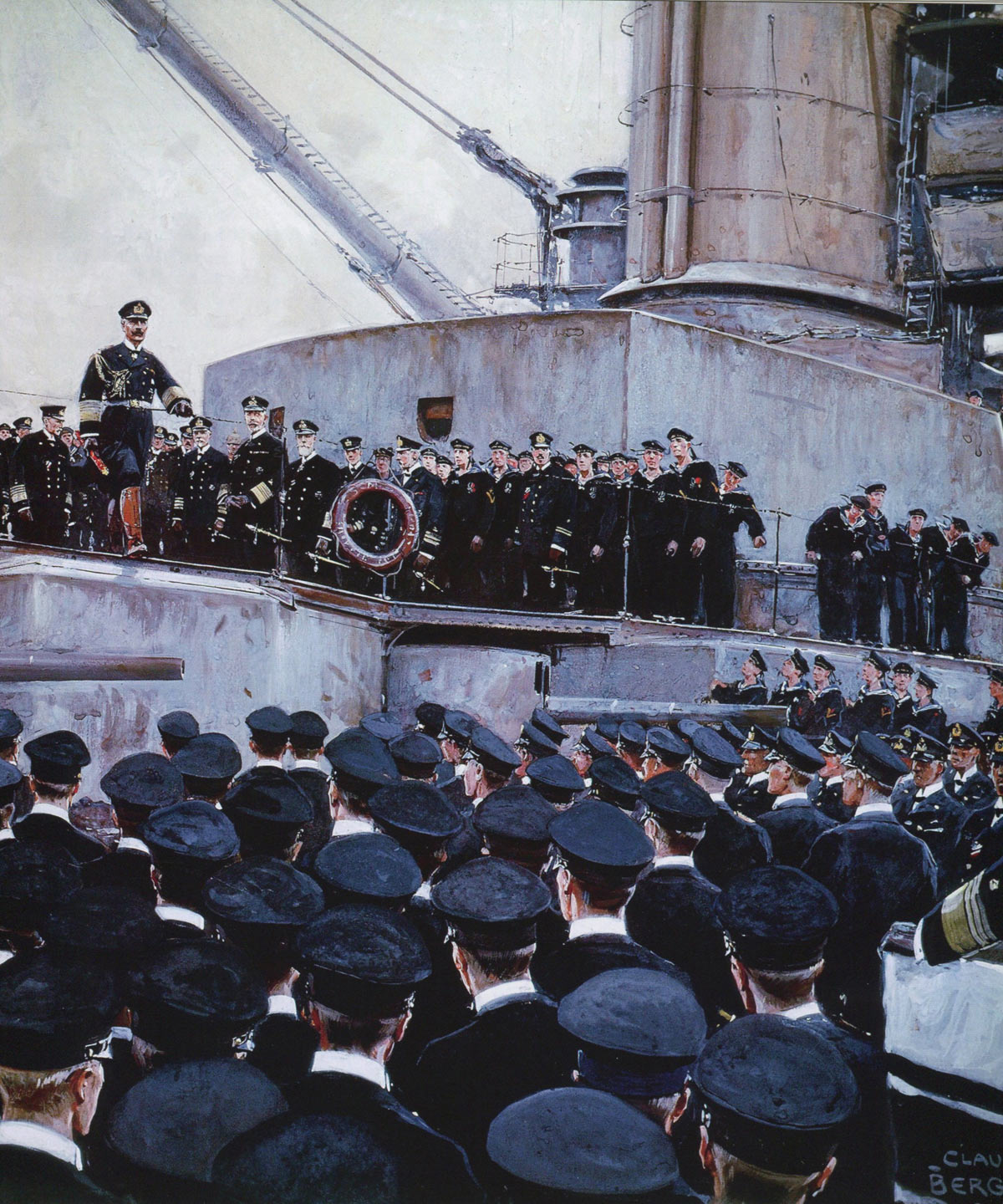 Kaiser Wilhelm II addressing officers of his High Seas Fleet after the Battle of Jutland: picture by Claus Bergen