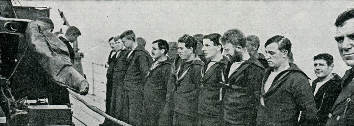 Members of the crew of HMS Shark before the Battle of Jutland on 31st May 1916. Probably none of the men in the photograph survived the battle.