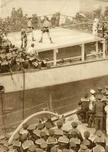 The boxing competition conducted on board the 'Sports Ship' HMS Borodino at Scapa Flow on 30th May 1916 before the Battle of Jutland