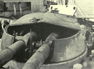Damage to Q Turret on British Battle Cruiser HMS Lion which led to the deaths of around 50 of her crew and nearly destroyed the ship at the Battle of Jutland 31st May 1916