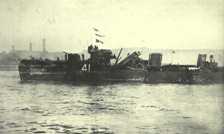 HMS Spitfire entering the Tyne on 2nd June 1916 showing the damage suffered in her collision with the German ship