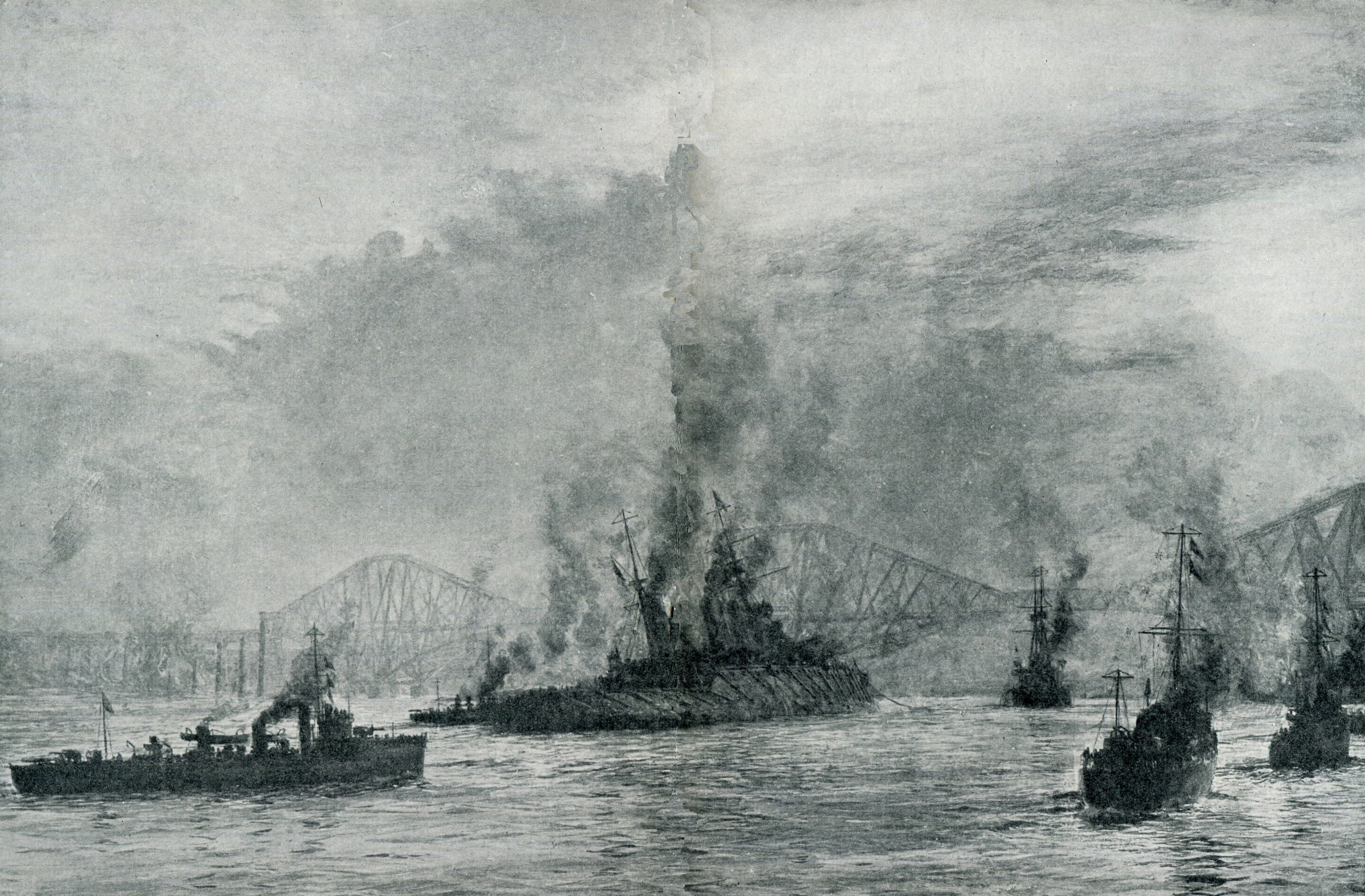 'Wounded Lion' by Lionel Wyllie. The British Batttle Cruiser HMS Lion Flagship of Admiral Beatty lies in the Firth of Forth after the Battle of Jutland on 31st May 1916
