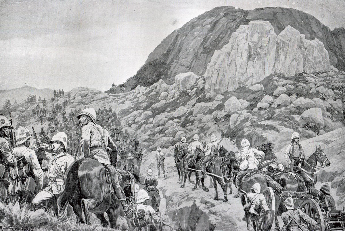 The Advance up Spion Kop: Battle of Spion Kop on 24th January 1900 during the Great Boer War: picture by Richard Caton Woodville: buy this picture
