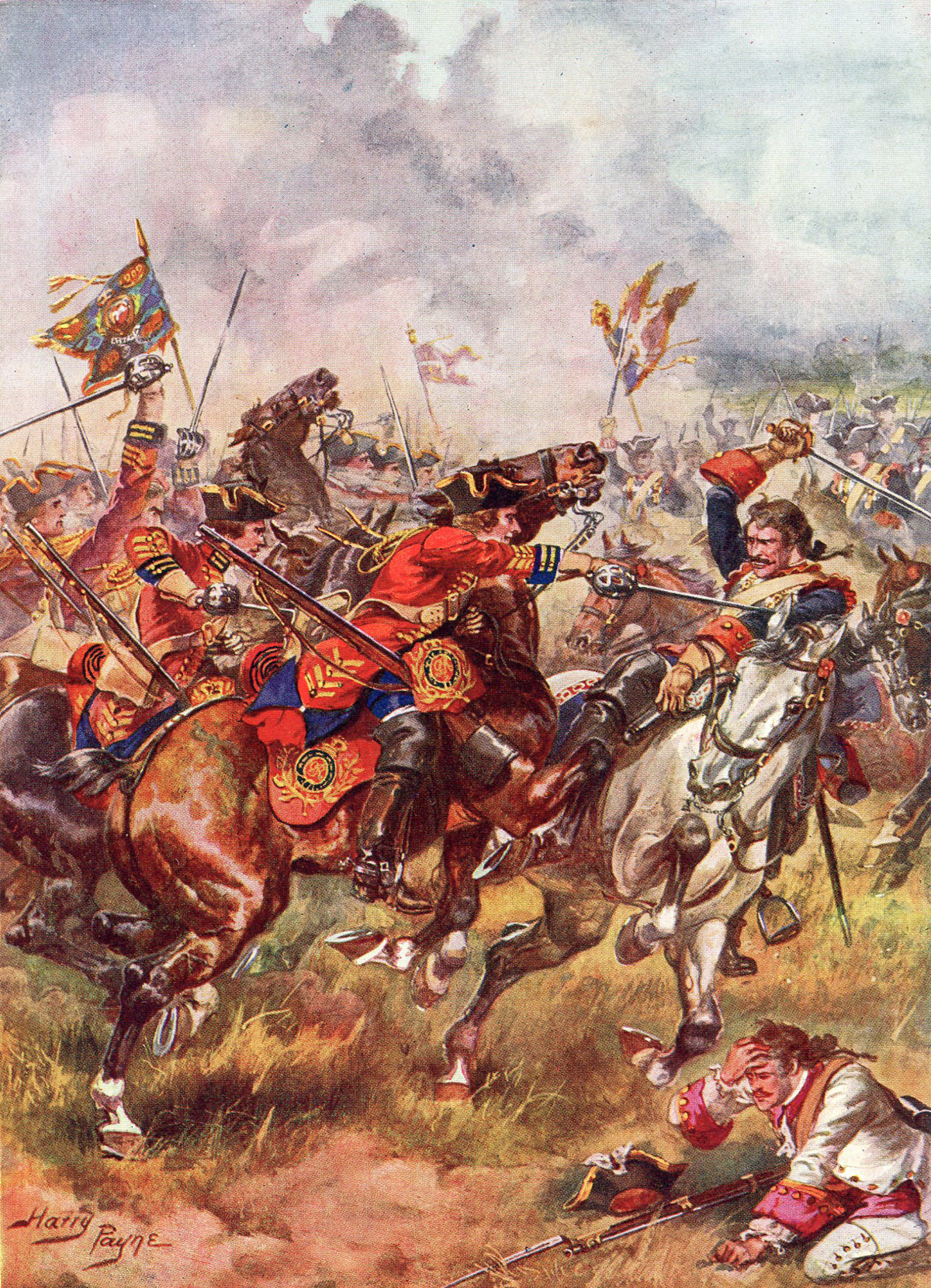 Bland's King's Own Royal Dragoons: Battle of Dettingen fought on 27th June 1743 in the War of the Austrian Succession: picture by Harry Payne