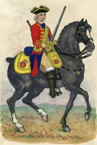 Third Troop of Horse Guards: Battle of Dettingen fought on 27th June 1743 in the War of the Austrian Succession: Mackenzie after Representation of Cloathing 1742