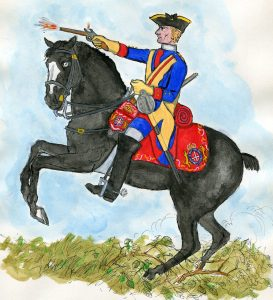 Royal Regiment of Horse (Blues): Battle of Dettingen fought on 27th June 1743 in the War of the Austrian Succession: Mackenzie after Representation of Cloathing 1742