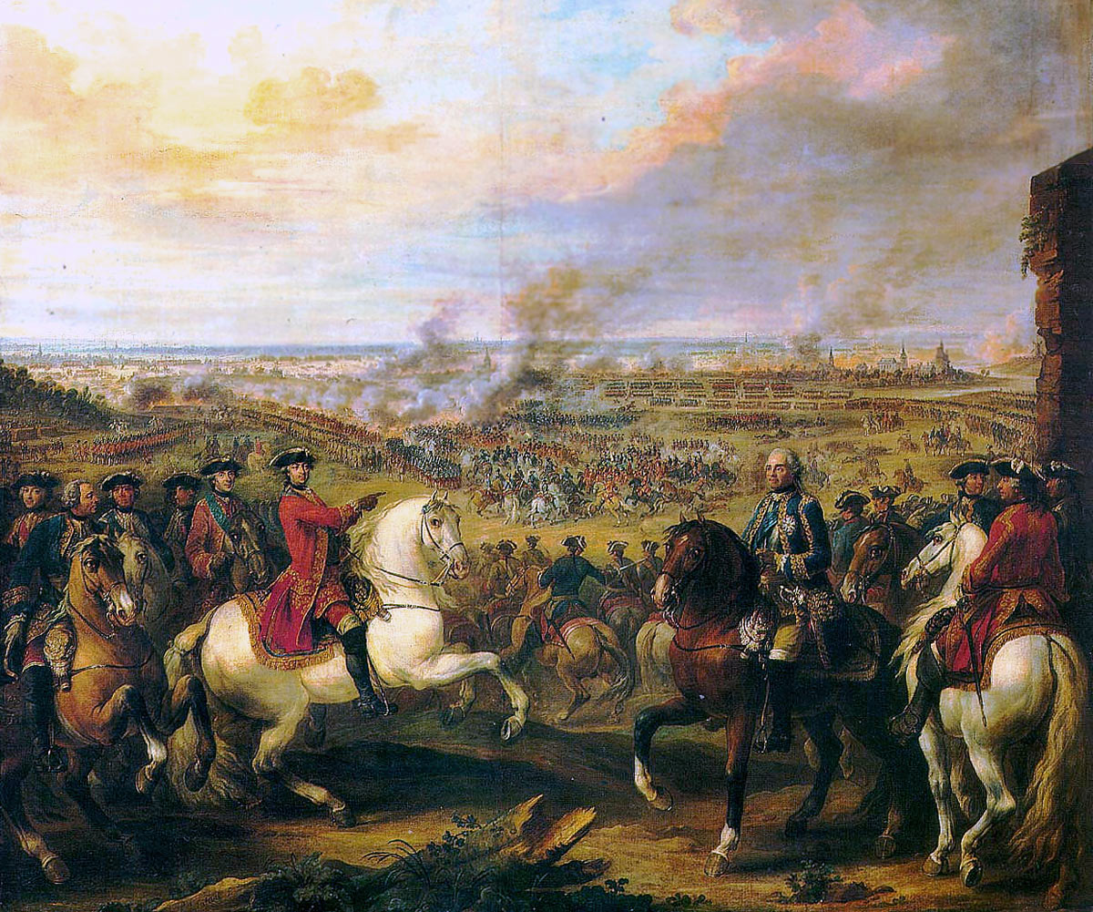 King Louis XV points at Marshal Maurice de Saxe the victor of the Battle of Fontenoy on 11th May 1745 in the War of the Austrian Succession: picture by Pierre Lenfant: click here to buy this picture