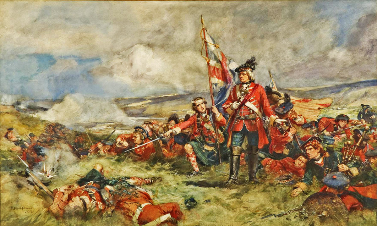 The Black Watch at the Battle of Fontenoy on 11th May 1745 in the War of the Austrian Succession: picture by Skeoch Cumming (the uniforms and headgear are not accurate for the period)