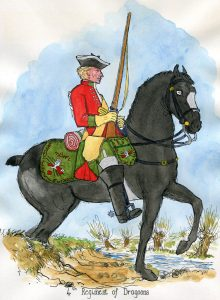 4th Dragoons: Battle of Lauffeldt 21st June 1747 in the War of the Austrian Succession: picture by Mackenzies from Representation of Cloathing