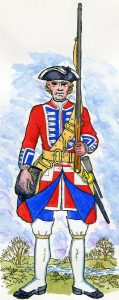 1st Regiment of Foot Guards: Battle of Fontenoy on 11th May 1745 in the War of the Austrian Succession: picture by Mackenzies after Representation of Cloathing