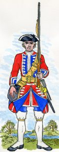 2nd Coldstream Regiment of Foot Guards: Battle of Fontenoy on 11th May 1745 in the War of the Austrian Succession: picture by Mackenzies after Representation of Cloathing