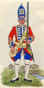 Royal Scotch Fuziliers: Battle of Dettingen fought on 27th June 1743 in the War of the Austrian Succession: Mackenzie after Representation of Cloathing 1742