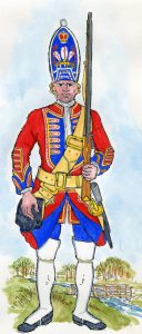 Royal Welch Fuziliers: Battle of Dettingen fought on 27th June 1743 in the War of the Austrian Succession: Mackenzie after Representation of Cloathing 1742